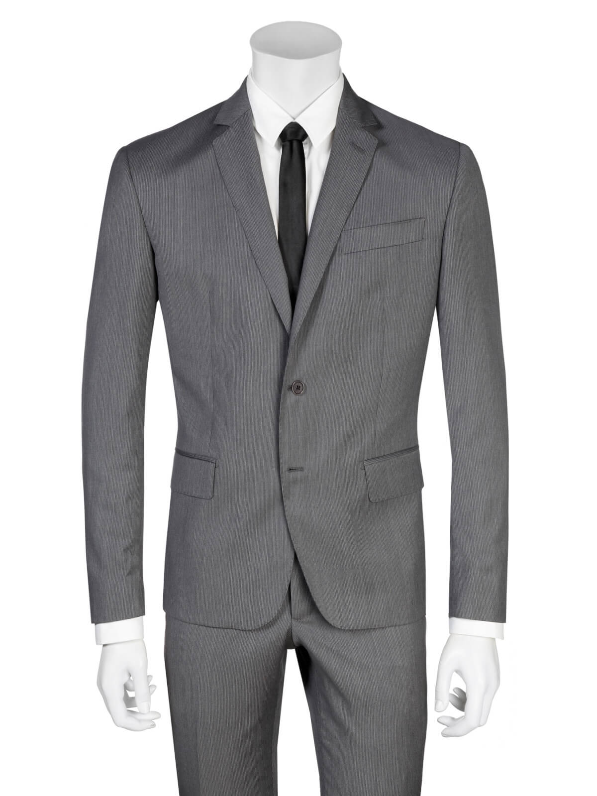 Pierre Balmain Suit Slim Fit Pinstriped Dark Gray by Balmain